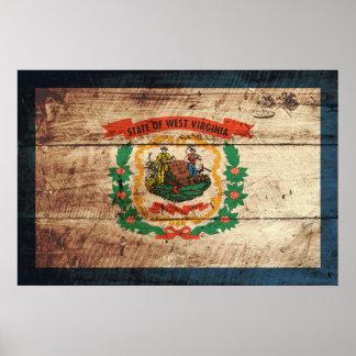 West- VirginiaStaats-Flagge auf altem hölzernem Poster