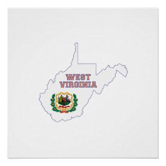 West- VirginiaStaats-Flagge und Karte Poster