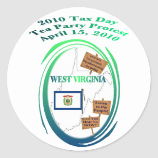 West- Virginiasteuer-Tagestee-Party-Protest Runder Aufkleber