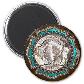 Western-Art-Büffel-Nickel Runder Magnet 5,7 Cm