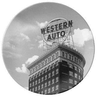 Western-Auto-halbes Zylinder-Gebäude Porzellanteller