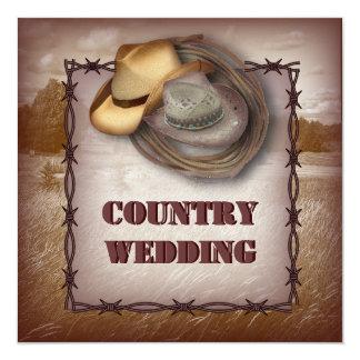 Western-Cowboy-rustikale Land-Hochzeits-Einladung Quadratische 13,3 Cm Einladungskarte