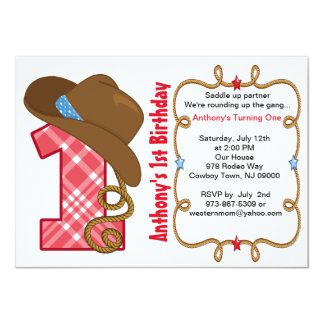 Western-große Jungen-Geburtstags-Einladung Karte