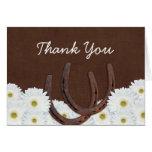 Western-Hufeisen und Gänseblümchen danken Ihnen Grußkarte