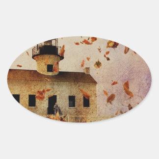 Western-Land-Kirchen-Kapellen-Fall-Herbst-Blätter Ovaler Aufkleber