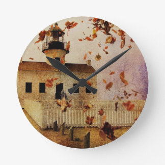 Western-Land-Kirchen-Kapellen-Fall-Herbst-Blätter Runde Wanduhr