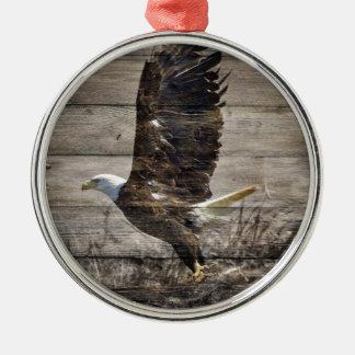 Western-Land patriotischer amerikanischer kahler Rundes Silberfarbenes Ornament