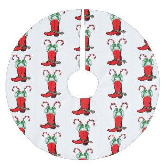Western-roter Cowboystiefel und Zuckerstangen Polyester Weihnachtsbaumdecke