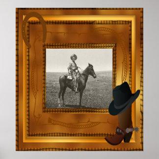 Western-Thema mit Stiefel-u. Hut-Foto-Schablone Poster