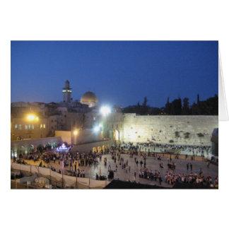 Western-Wand in Jerusalem an der Dämmerung Karte