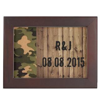 Westernland Camouflage-Hochzeit der rustikalen Erinnerungsdose