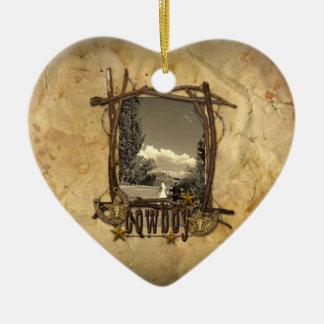 Westernlandcowboyhochzeits-Fotoverzierung Keramik Ornament