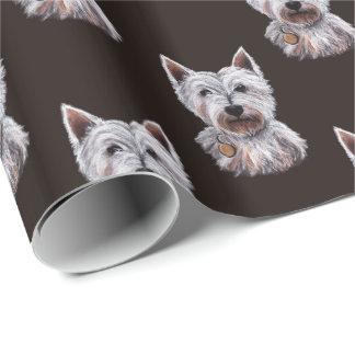 Westhochland-Terrier-Hundeillustration gemustert Geschenkpapierrolle