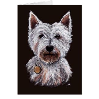 Westhochland-Terrier-Hundepastell-Illustration Grußkarte