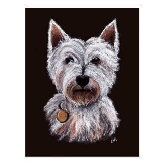 Westhochland-Terrier-Hundepastell-Illustration Postkarten