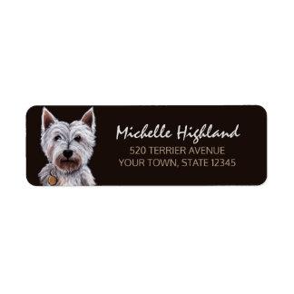 Westhochland-Terrier-Hundepastell-Illustration Rückversand-Adressaufkleber