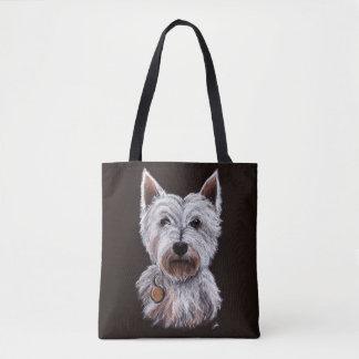 Westhochland-Terrier-Hundepastell-Illustration Tasche