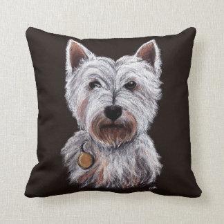 Westhochland-Terrier-Hundepastell-Illustration Zierkissen