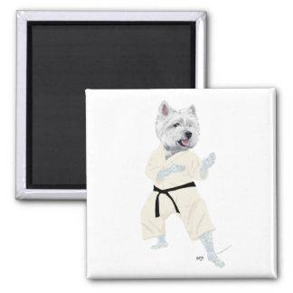 Westhochland-Terrier-KARATE! Quadratischer Magnet