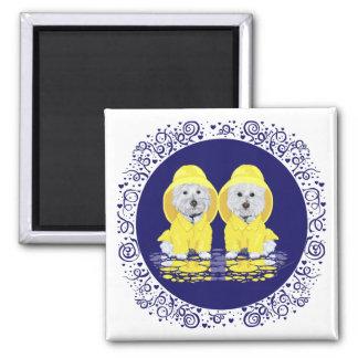 Westhochland-weiße Terrier-Regen Quadratischer Magnet