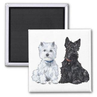 Westhochland-weiße u. schottische Terrier Quadratischer Magnet