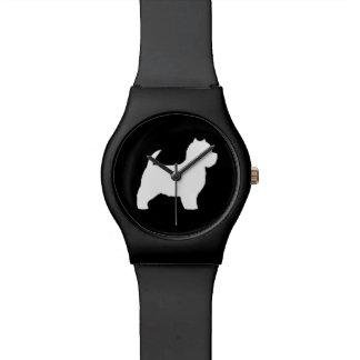 Westhochland-weißer Terrier-Silhouette Handuhr