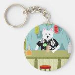 Westhochland-weißer Terrier Tiki Bar Standard Runder Schlüsselanhänger