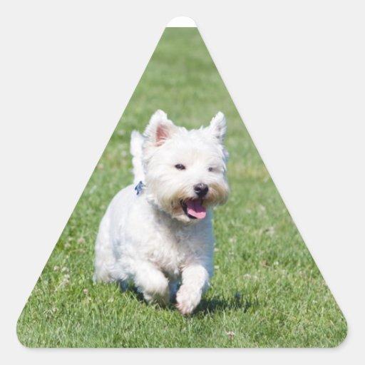 Westhochland-weißer Terrier, westie Hundeniedliche Dreieckaufkleber