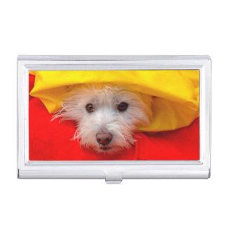 Westhochland weißes Terrier, das aus Gelb heraus Visitenkarten Dose