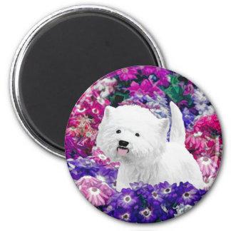 Westhochland weißes Terrier, das Hundekunst malt Runder Magnet 5,7 Cm