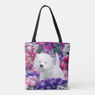 Westhochland weißes Terrier, das Hundekunst malt Tasche