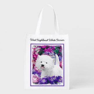 Westhochland weißes Terrier, das Hundekunst malt Wiederverwendbare Einkaufstasche
