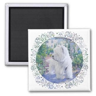 Westhochland-weißes Terrier-Garten Quadratischer Magnet