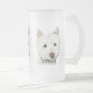 Westhochland-weißes Terrier-Hund Mattglas Bierglas