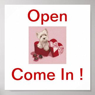 Westhochland-weißes Terrier-Hundeoffenes Zeichen Poster