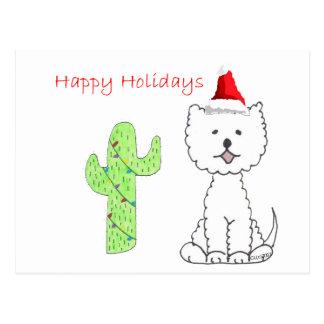 Westhochland-weißes Terrier-Kaktus-Weihnachten Postkarte