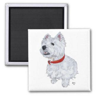 Westhochland weißes Terrier - oben schauend Quadratischer Magnet