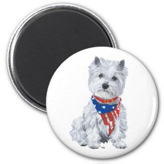 Westhochland weißes Terrier patriotisch Runder Magnet 5,7 Cm