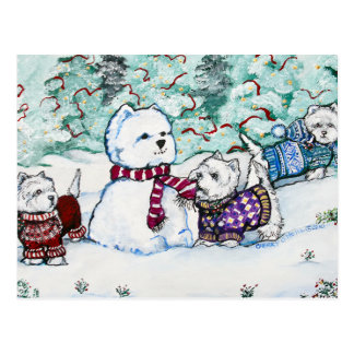 Westhochland-weißes Terrier-Schneemann Postkarten