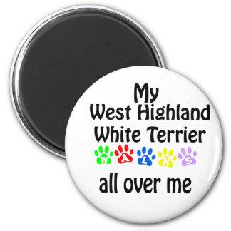 Westhochland-weißes Terrier-Weg-Entwurf Runder Magnet 5,7 Cm