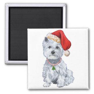 Westhochland weißes Terrier Weihnachtsmann Quadratischer Magnet