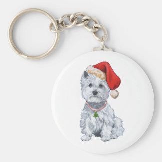 Westhochland weißes Terrier Weihnachtsmann Standard Runder Schlüsselanhänger