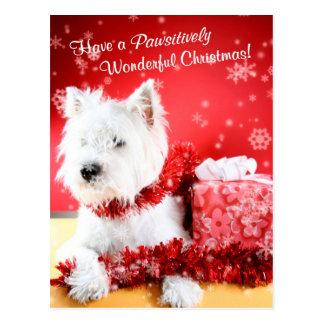 Westhochland-weißes Terrier-Weihnachtswünsche Postkarte