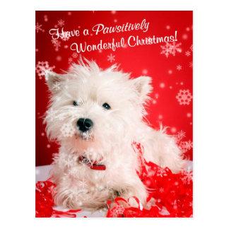 Westhochland-weißes Terrier-Weihnachtswünsche Postkarten