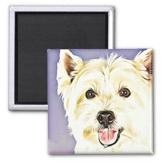 Westhochland weißes Terrier, Westie, Hund, Welpe Quadratischer Magnet
