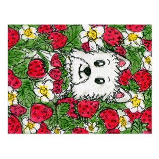 Westie Erdbeerflecken-Wasserfarbepostkarte Postkarte