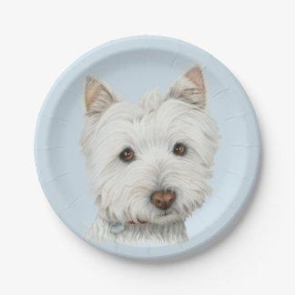 Westie Hundekunst-Pappteller Pappteller