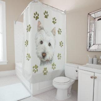 Westie Hundekunst und Tatzen-Duschvorhang Duschvorhang