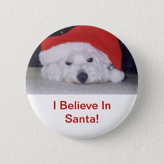 Westie in einer Weihnachtsmannmütze Runder Button 5,7 Cm