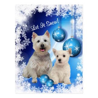 Westie ließ es schneien Feiertags-Gruß Postkarte
